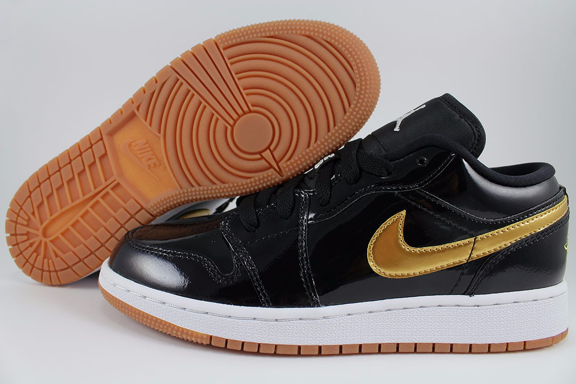 aa260b3704e Details about NIKE AIR JORDAN 1 LOW BLACK METALLIC GOLD GUM PATENT LEATHER  WOMEN GIRL YOUTH SZ
