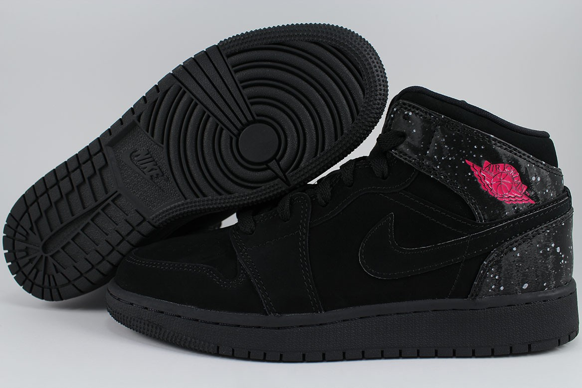 Details about NIKE AIR JORDAN 1 MID BLACK RUSH PINK WHITE RETRO HIGH HI  WOMEN GIRLS YOUTH SIZE 91e1bd70d