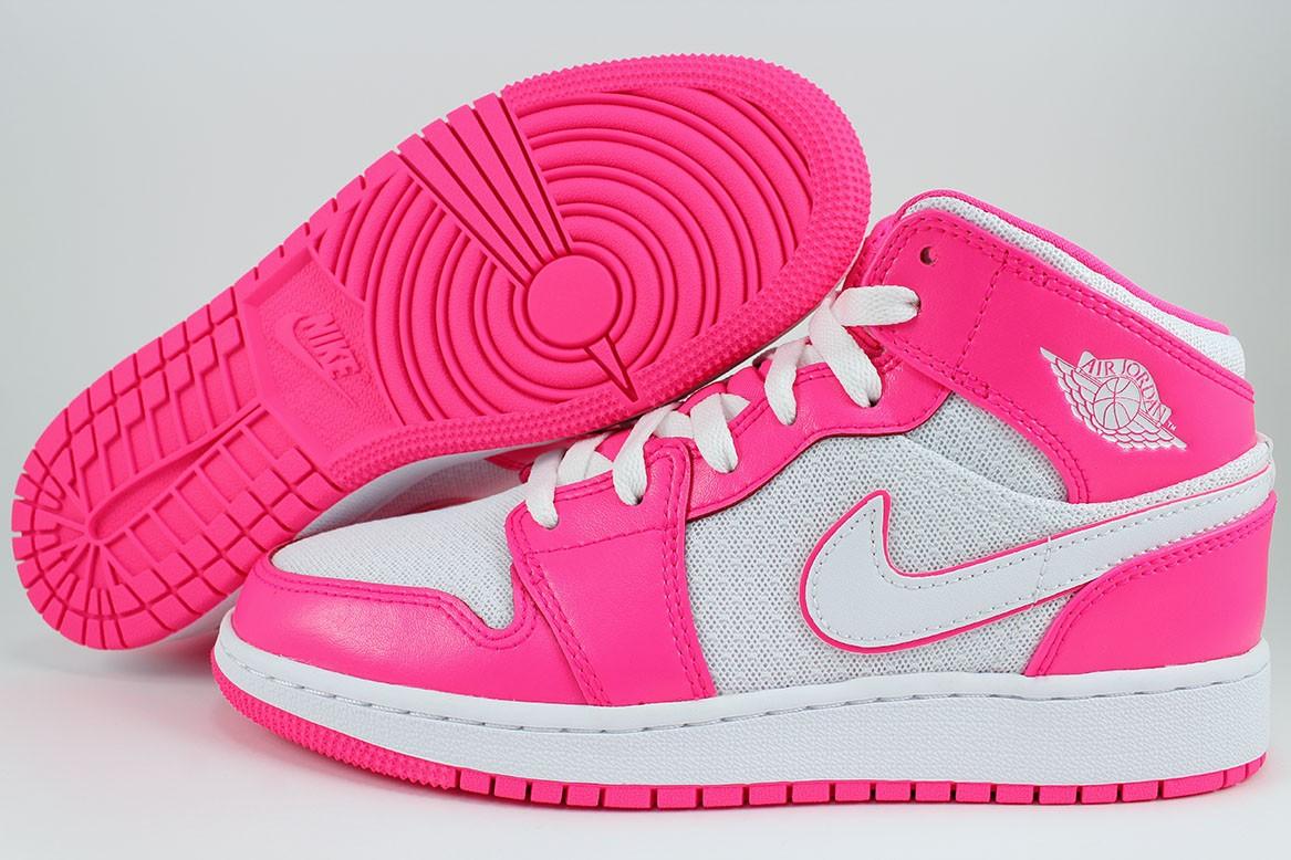 Détails sur Nike Air Jordan 1 Mid Hyper Rose/Blanc Chaud Rétro Hi Haut Femmes Filles Jeunes Tailles- afficher le titre d'origine