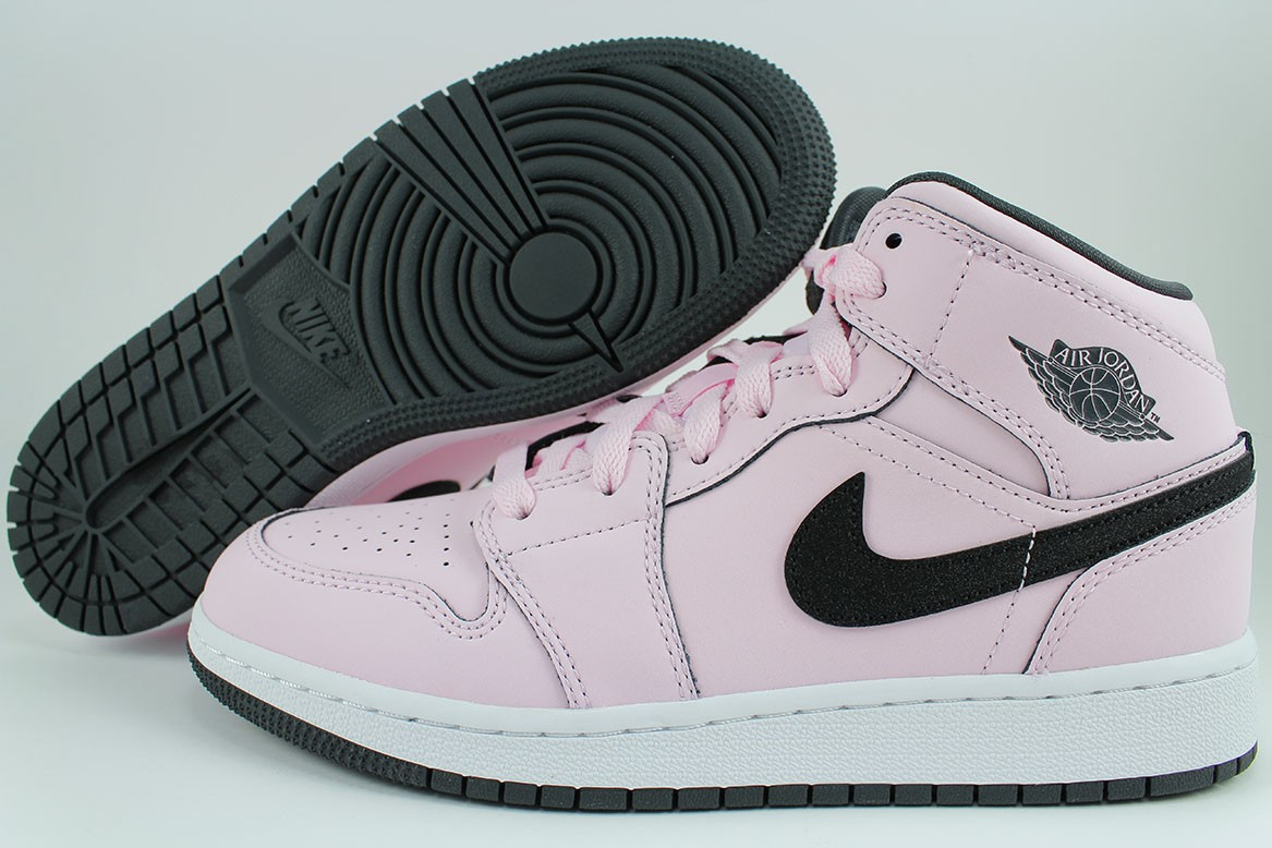 4f6603209dc5c6 Details about NIKE AIR JORDAN 1 MID PINK FOAM BLACK WHITE RETRO HIGH HI  WOMEN GIRLS YOUTH SIZE