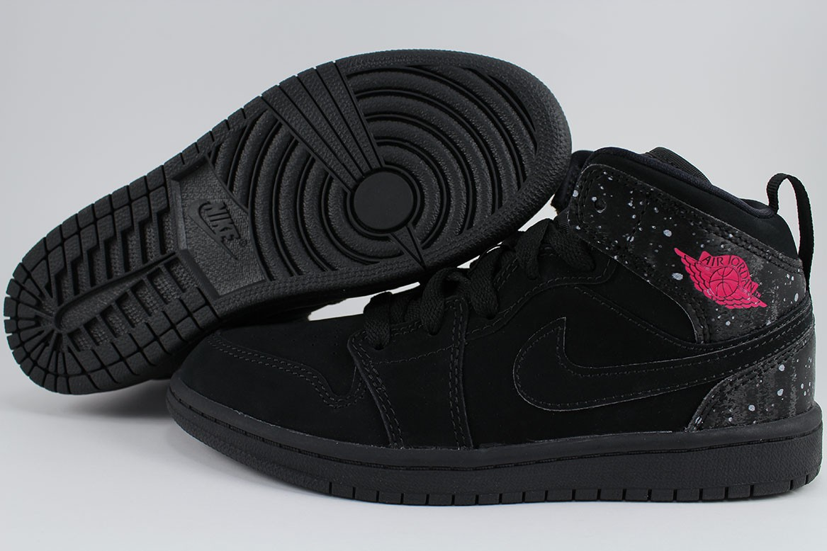 80bf700ac36 Details about NIKE AIR JORDAN 1 MID BLACK RUSH PINK WHITE RETRO HIGH HI  GIRLS KIDS YOUTH SIZES