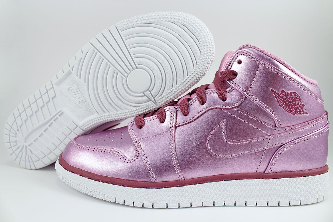 finest selection 5af9a 001f6 Details about NIKE AIR JORDAN 1 MID METALLIC PINK RED PURPLE RETRO HIGH  WOMEN GIRLS YOUTH SIZE