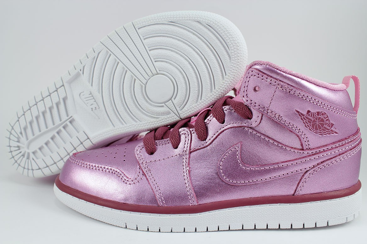 8f82705a5a37e3 Details about NIKE AIR JORDAN 1 MID METALLIC PINK RED PURPLE RETRO HIGH HI  GIRLS KIDS YOUTH SZ