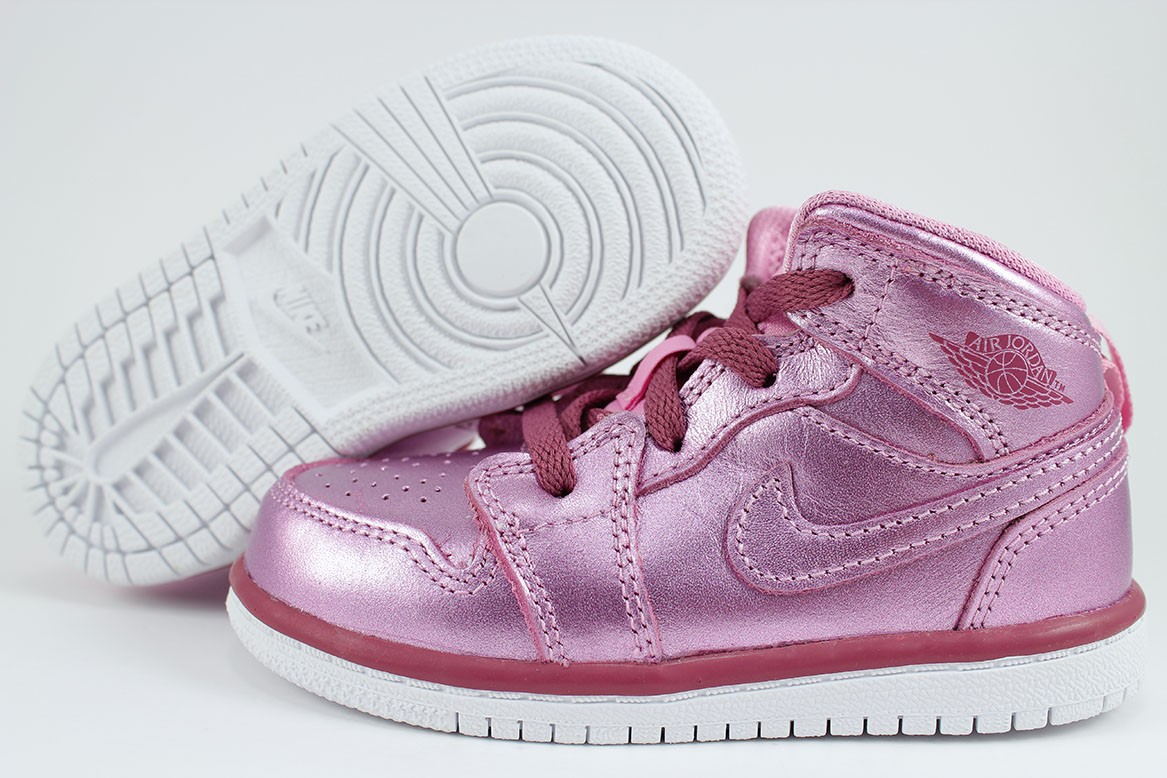 e5ab1844e6220b Details about NIKE AIR JORDAN 1 MID SE METALLIC PINK RED PURPLE RETRO HIGH  HI BABY TODDLER SZ