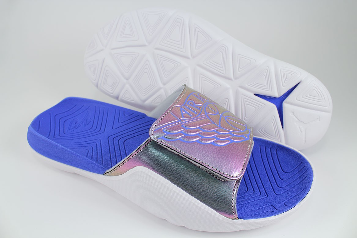 60dd111b2ed04 Details about NIKE JORDAN HYDRO 7 WHITE ROYAL BLUE GRAY IRIDESCENT STRAP  SPORT SANDALS MENS SZ
