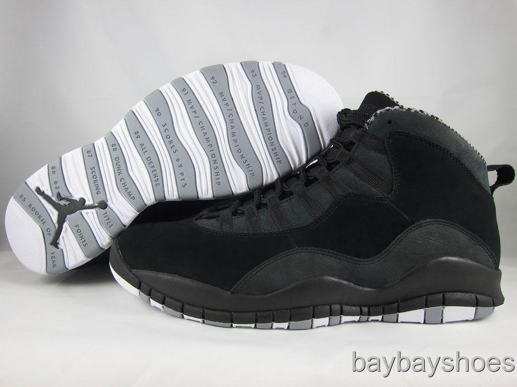 best sneakers 2e748 9e43f NIKE AIR JORDAN RETRO 10 X BLACK WHITE STEALTH GRAY 2012 MENS ALL