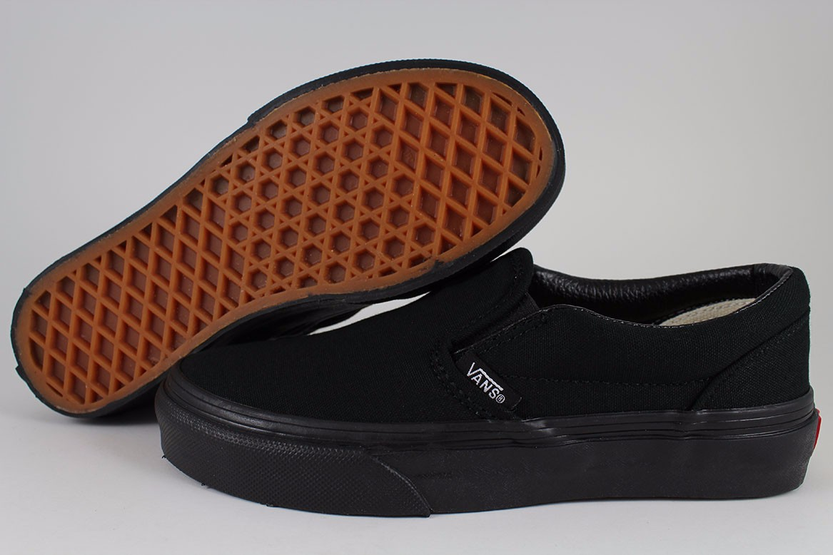 a824e2316d1 Details about VANS CLASSIC SLIP-ON TRIPLE BLACK MONO SKATE 0EYEBKA SLIDES  AUTHENTIC MENS SIZE
