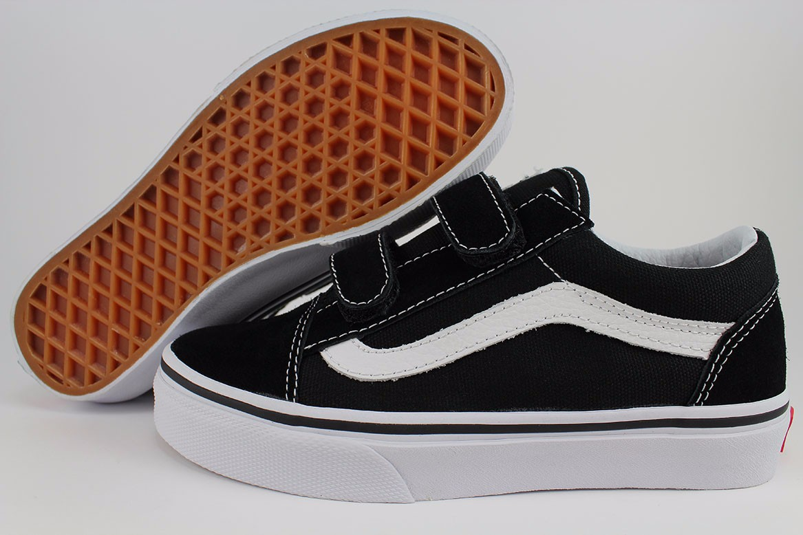 VANS OLD SKOOL V BLACK WHITE STRAP CANVAS AUTHENTIC BOYS GIRLS KIDS ... 2757f244fa8b