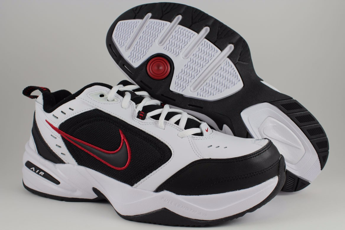ae2b5365e05 NIKE AIR MONARCH IV 4 EXTRA WIDE 4E EEEE WHITE BLACK RED CROSS ...
