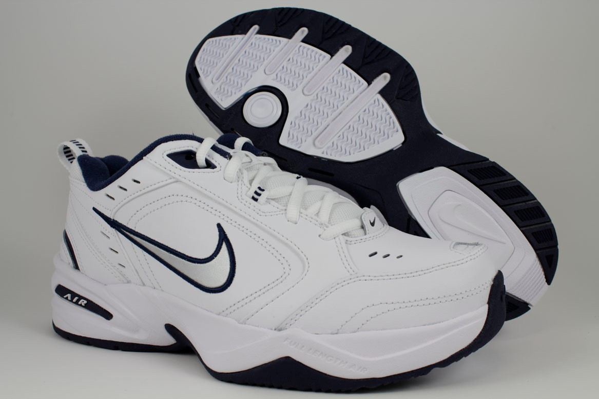 8c18ed4b7b1 NIKE AIR MONARCH IV 4 EXTRA WIDE 4E EEEE WHITE SILVER NAVY BLUE ...