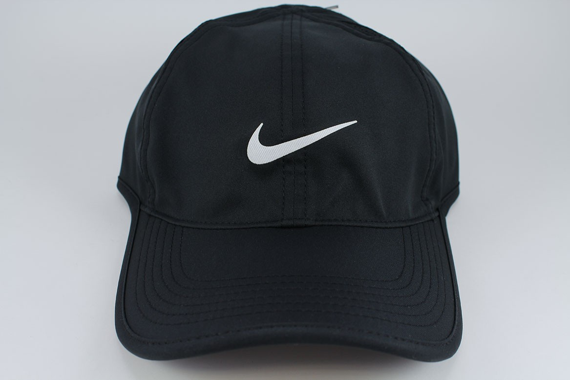 02334498f07 NIKE FEATHER LIGHT DRI-FIT ADJUSTABLE CAP HAT BLACK WHITE TRAINING ...