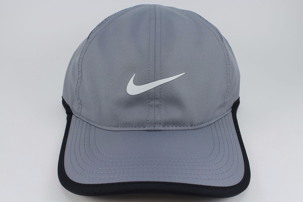 0ce5c6c8 Details about NIKE FEATHER LIGHT DRI-FIT ADJUST CAP HAT GRAY/WHITE/BLACK  TRAINING SWOOSH MEN