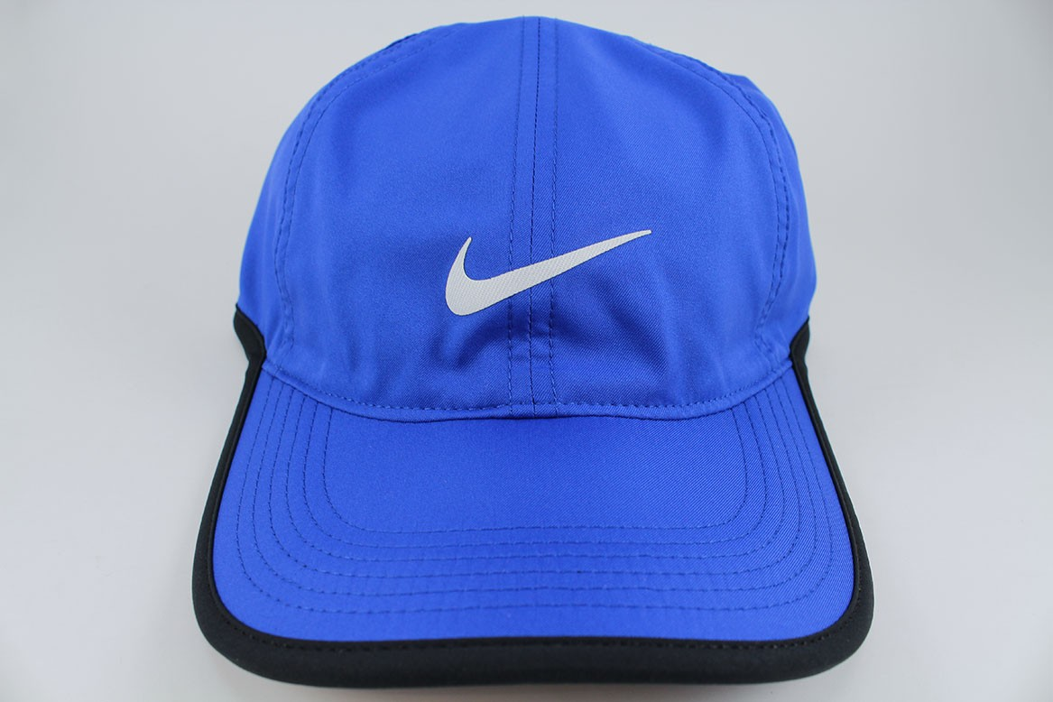 half off 8d1f1 63226 Details about NIKE FEATHER LIGHT DRI-FIT ADJUST CAP HAT ROYAL BLUE BLACK  TRAINING SWOOSH MENS