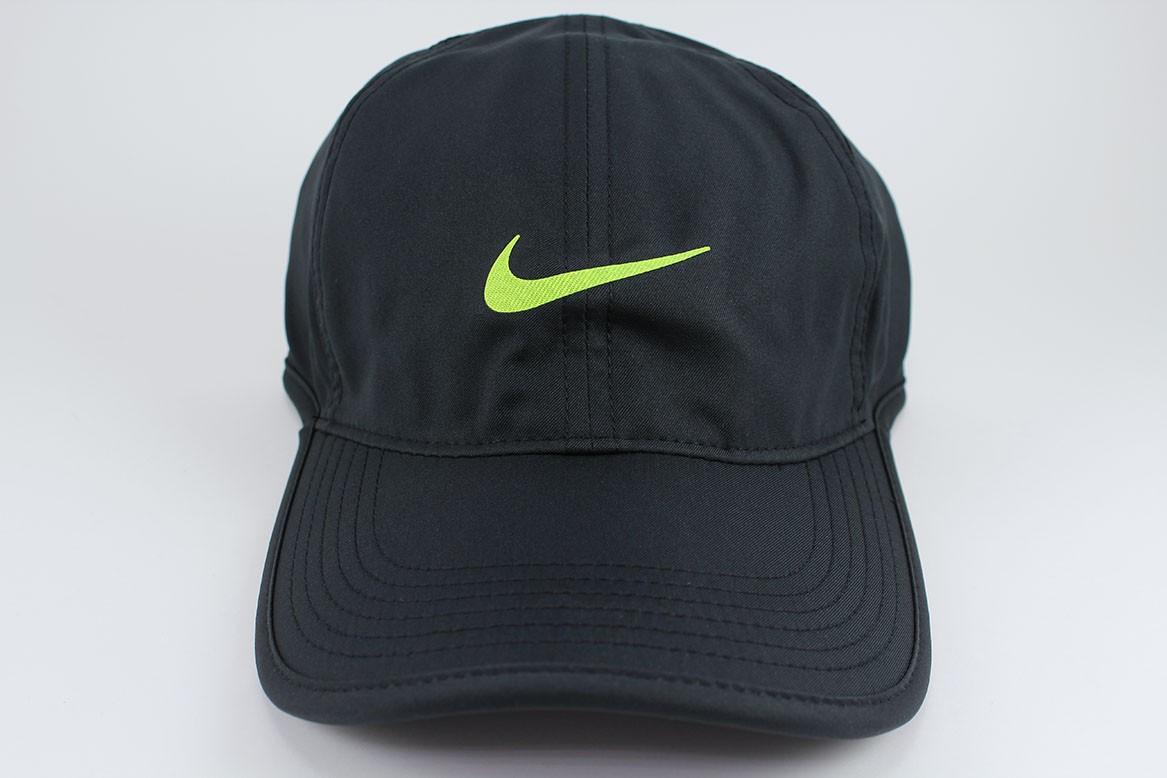 1792f1e1f58 NIKE FEATHER LIGHT DRI-FIT ADJUSTABLE CAP HAT BLACK VOLT TRAINING ...