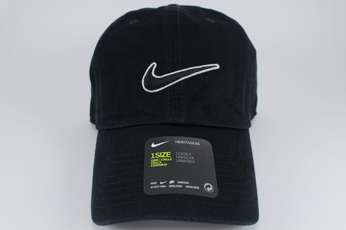 0e4dd9f6 Details about NIKE SWOOSH HERITAGE 86 ADJUSTABLE CAP HAT BLACK/WHITE COTTON  TRAINING ADULT NEW