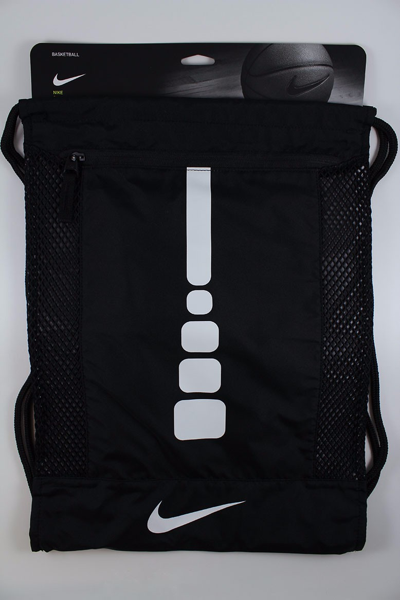 NIKE HOOPS ELITE GYMSACK BLACK WHITE DRAWSTRING BAG BACKPACK GYM ... 4ae84fe3ea
