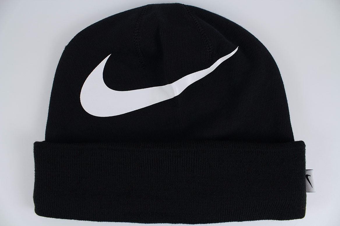 online store 202ce bb3e1 ... pom beanie hats gloves scarves a1293 84121  usa nike big swoosh cuffed  dri fit beanie black white knit hat cap adult 40e48 a3a35