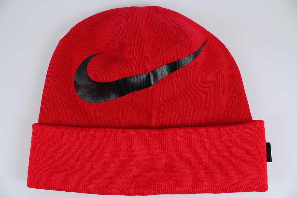 Details about NIKE BIG SWOOSH CUFFED DRI-FIT BEANIE RED BLACK KNIT HAT CAP  ADULT MEN NEW 9d0800c42c4
