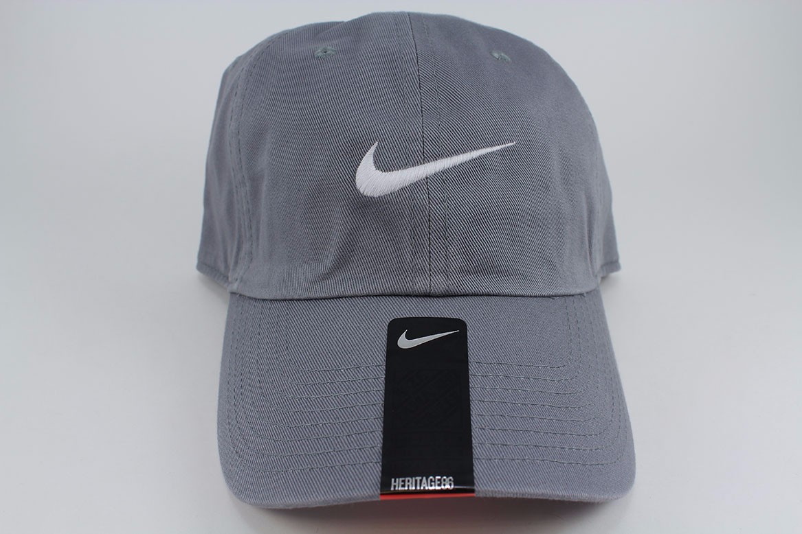 Details about NIKE SWOOSH HERITAGE 86 ADJUSTABLE CAP HAT COOL GRAY WHITE  COTTON TRAINING MENS d1ea09096e3