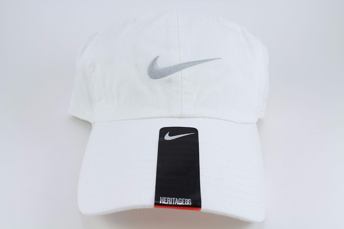 Details about NIKE SWOOSH HERITAGE 86 ADJUSTABLE CAP HAT WHITE WOLF GRAY  COTTON TRAINING MENS 02e52a53ccc6