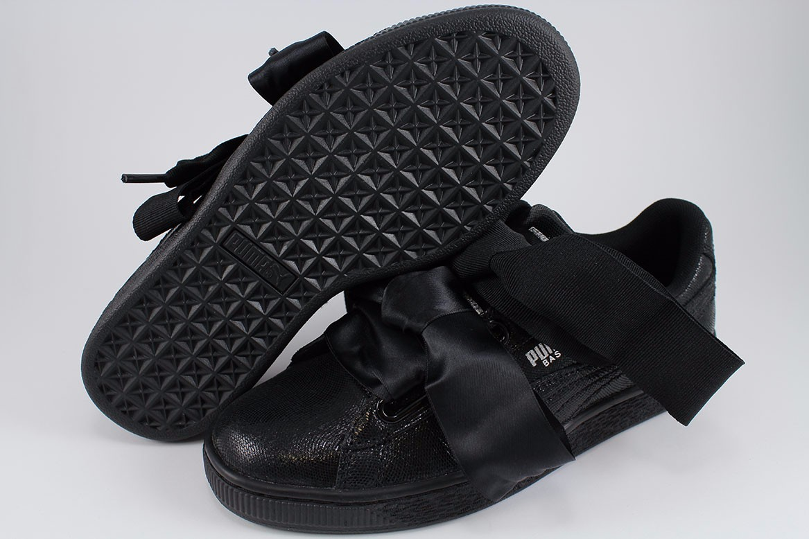 separation shoes ced16 7d856 PUMA BASKET HEART NS TRIPLE BLACK SPARKLE SATIN RIHANNA ...