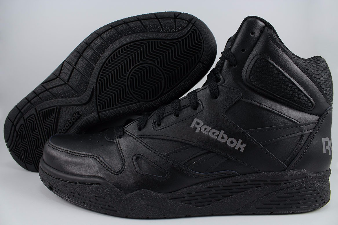 a4e656899c5 REEBOK ROYAL BB4500 HIGH HI WIDE E BLACK GRAY CLASSIC BASKETBALL LEATHER  MENS SZ