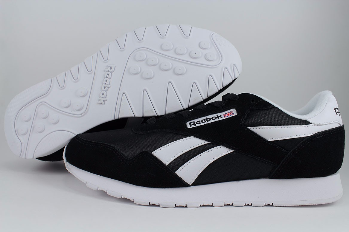 61d956fe127ff Details about REEBOK ROYAL NYLON BLACK BLACK WHITE RUNNING SUEDE CLASSIC US  MENS SIZES