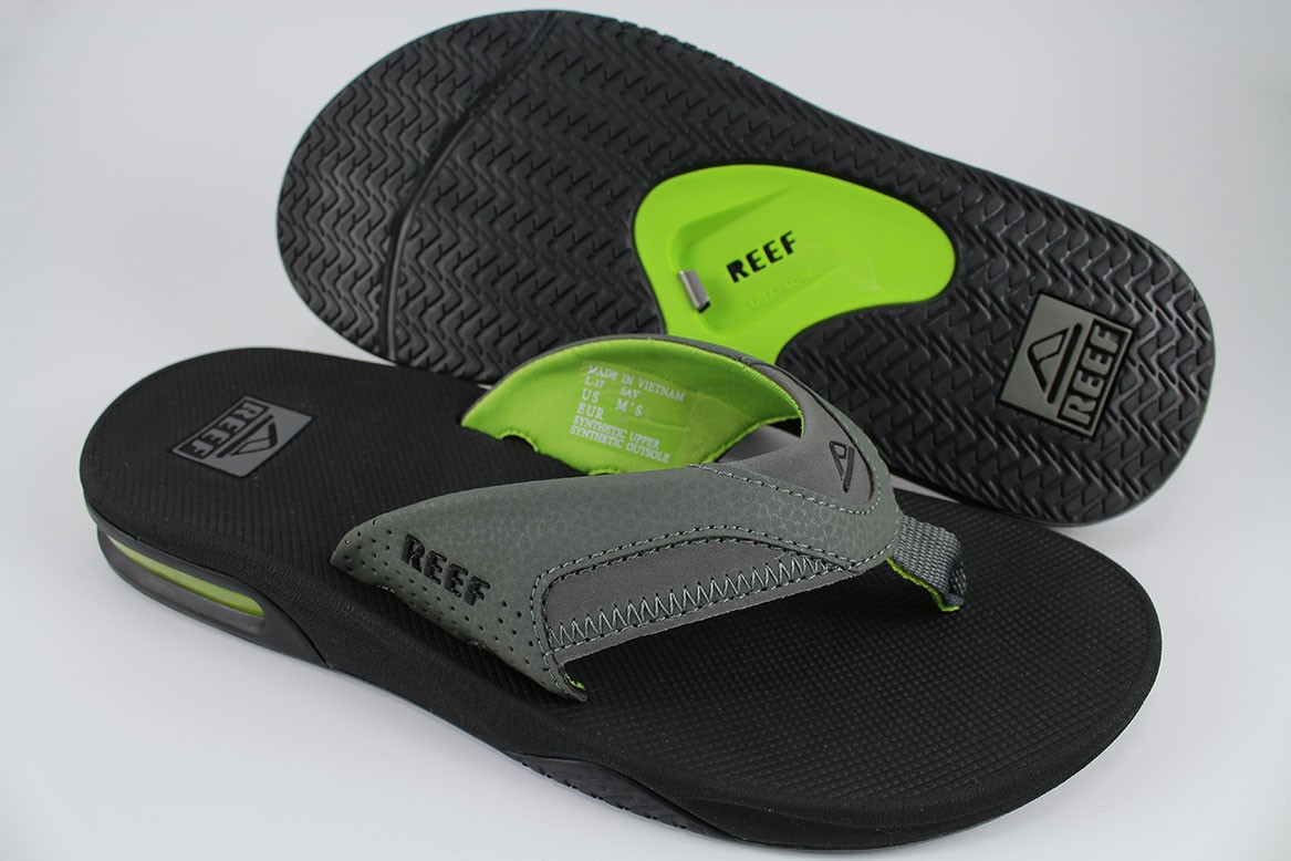 9d04dbb95501 REEF FANNING BLACK GREEN GRAY FLIP FLOPS THONG SANDALS BEACH MICK US ...