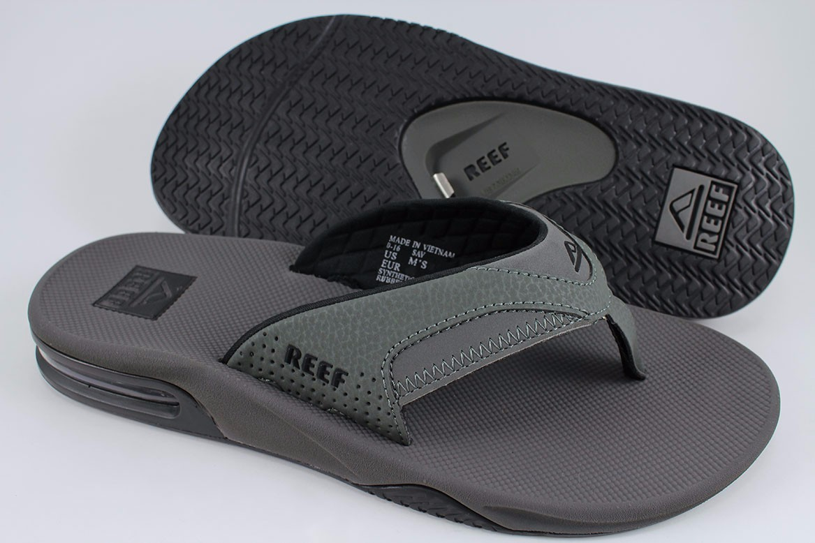 79b36f7d8fc6 REEF FANNING GRAY BLACK FLIP FLOPS THONG SANDALS BEACH MICK GREY US ...