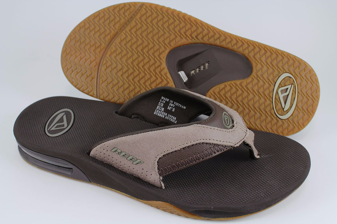 c35a6e401a2 Details about REEF FANNING TX BROWN TAN STACKED GUM LEATHER FLIP FLOP THONG  SANDALS MENS SIZES