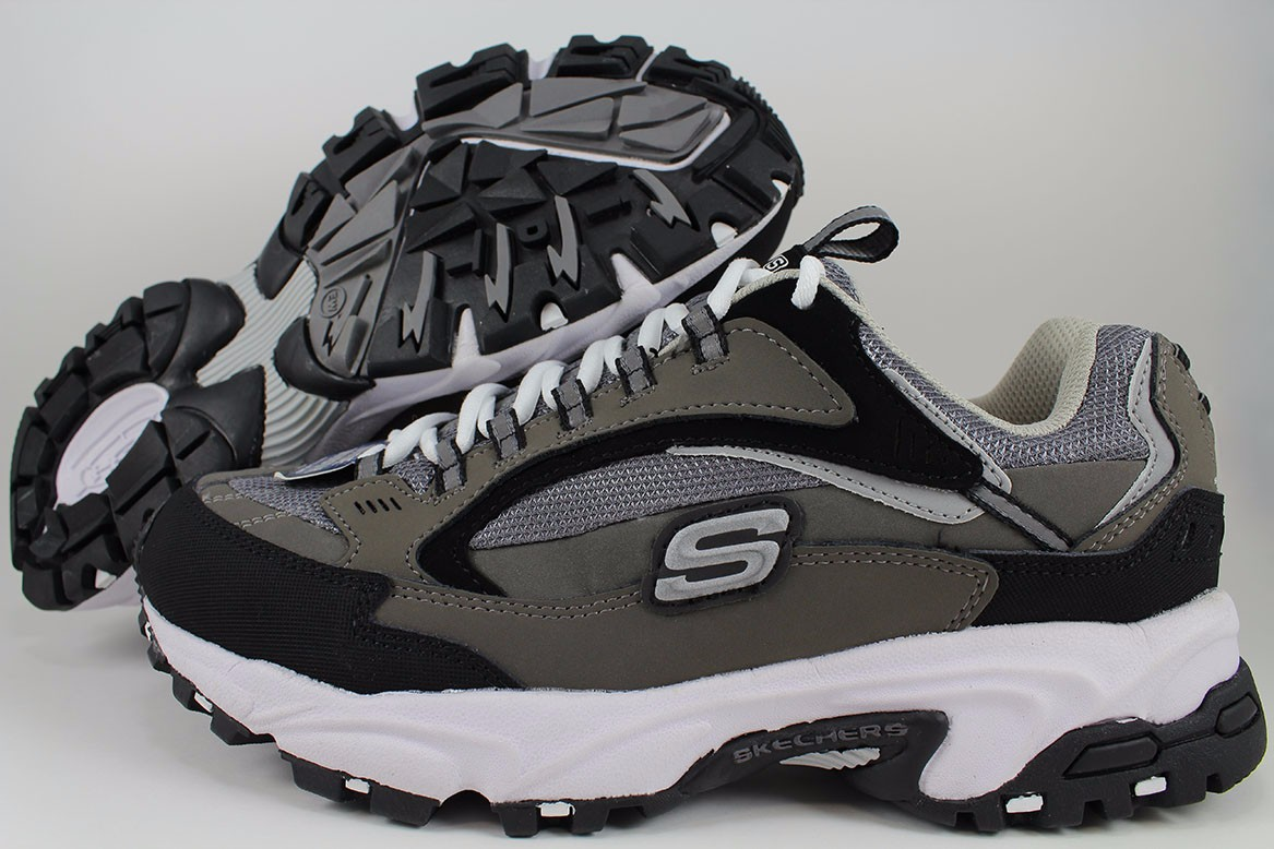 2f0414608a13 SKECHERS STAMINA NUOVO EXTRA WIDE 2E CHARCOAL GRAY BLACK CROSS ...