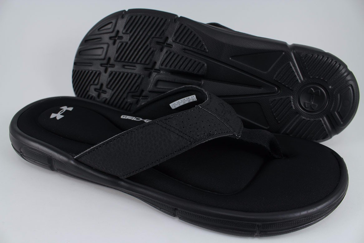 4f85bb1a84d1 UNDER ARMOUR UA IGNITE II SLIDE BLACK SILVER FLIP FLOPS THONG ...