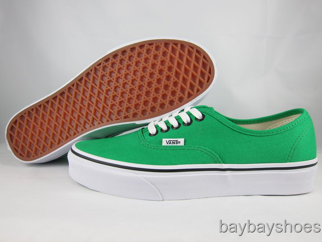 Vans Authentic Bright Green Black White Classic Skate Casual Mens All Sizes