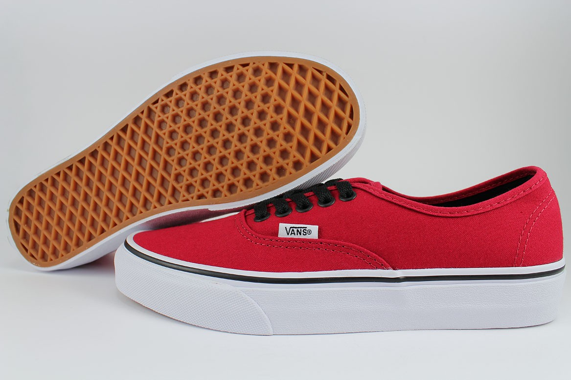vans authentic red black