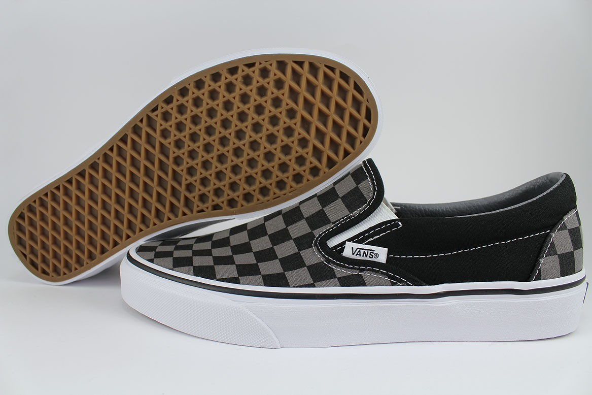 a2db7269e449d8 VANS CLASSIC SLIP-ON CHECKERBOARD BLACK PEWTER GRAY CHECKER CHECK ...