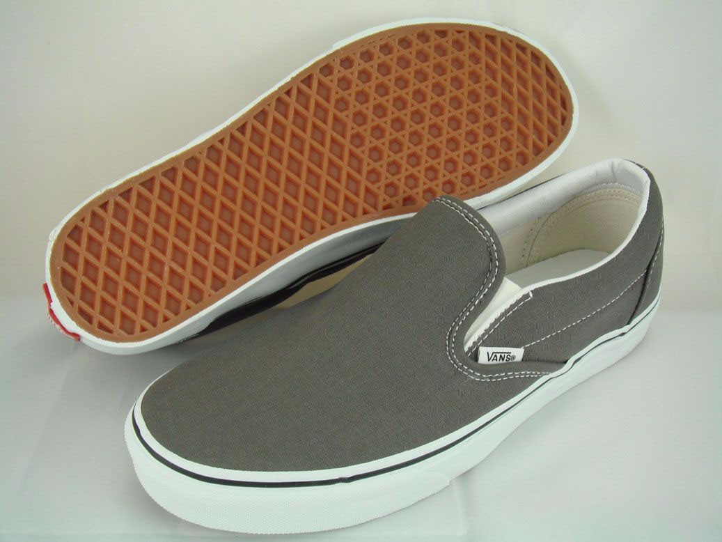 5890458fc3 Details about VANS CLASSIC SLIP-ON CHARCOAL GRAY WHITE SLIDES AUTHENTIC  0EYECHR US MENS SIZES