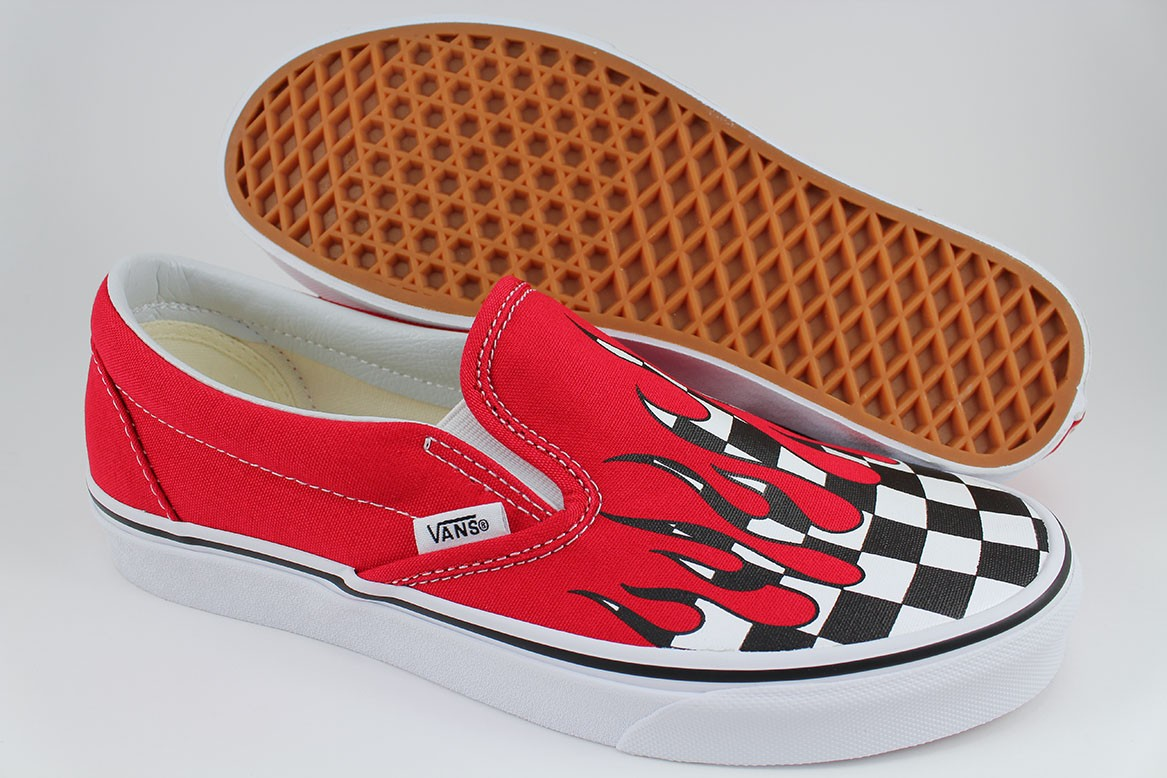 4e6b75b959 VANS CLASSIC SLIP-ON CHECKER FLAME RACING RED BLACK WHITE CHECK US ...