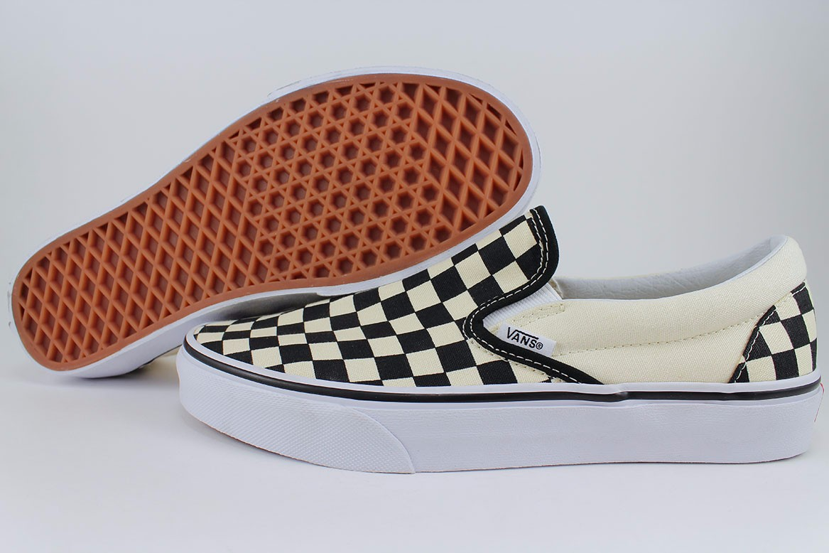 7f907ca5a9ab4f VANS CLASSIC SLIP-ON OFF WHITE BLACK CHECKERBOARD CANVAS LOAFERS US ...