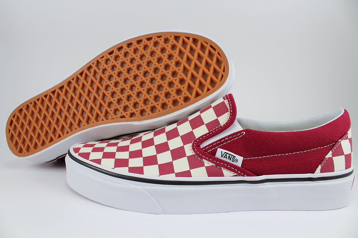 793b30de8d Details about VANS CLASSIC SLIP-ON CHECKERBOARD RUMBA RED WHITE BURGUNDY  MAROON CHECKER ADULT