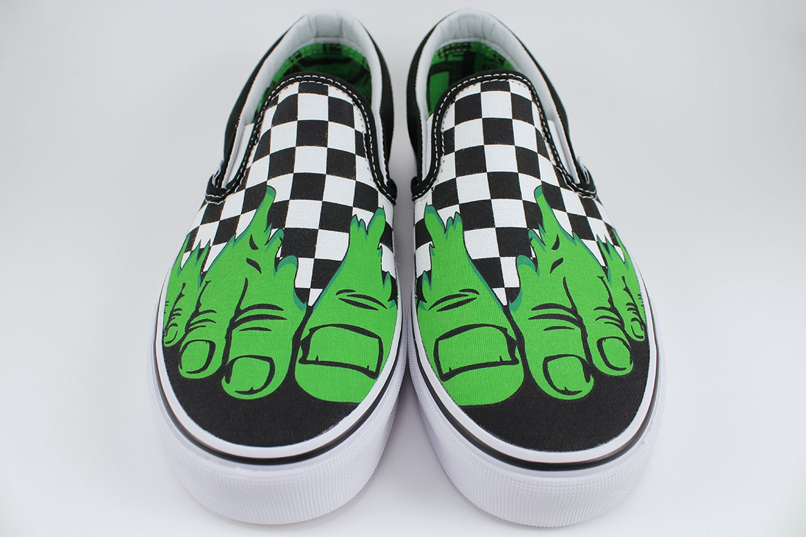 Details about VANS CLASSIC SLIP-ON MARVEL HULK CHECKERBOARD  BLACK WHITE GREEN CHECK MEN SIZES ffe7051a3