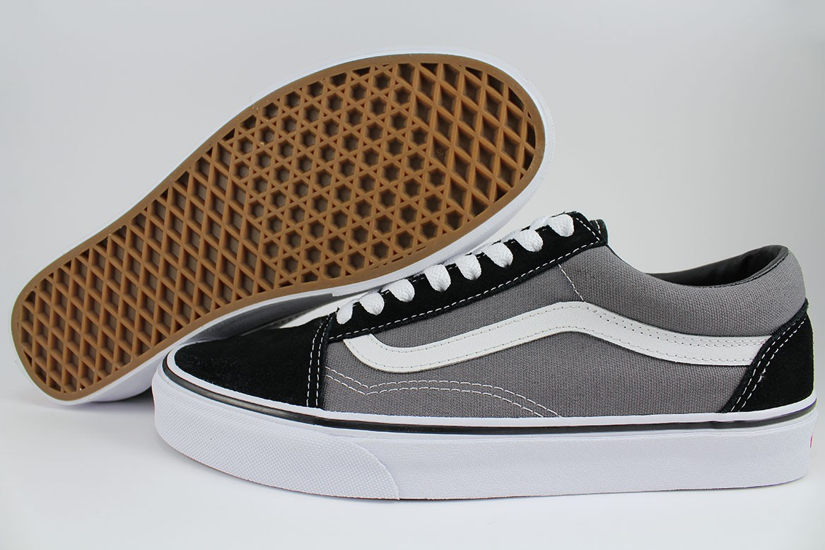 Details about VANS OLD SKOOL BLACK PEWTER GRAY WHITE CHARCOAL CLASSIC SKATE  US MEN WOMEN SIZES b9d05c49f