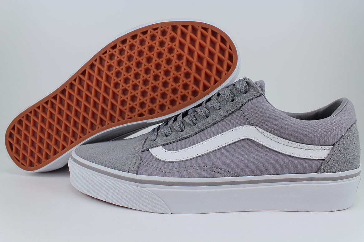 7cad9f168b Details about VANS OLD SKOOL FROST GRAY TRUE WHITE SUEDE CANVAS SKATE SK8  LOW US MEN SIZE