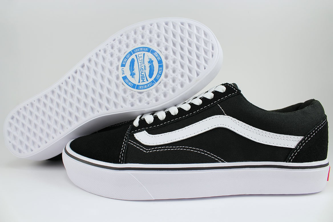 07bb5a21f4fb VANS OLD SKOOL LITE BLACK WHITE SUEDE CANVAS LIGHTWEIGHT CLASSIC MEN ...