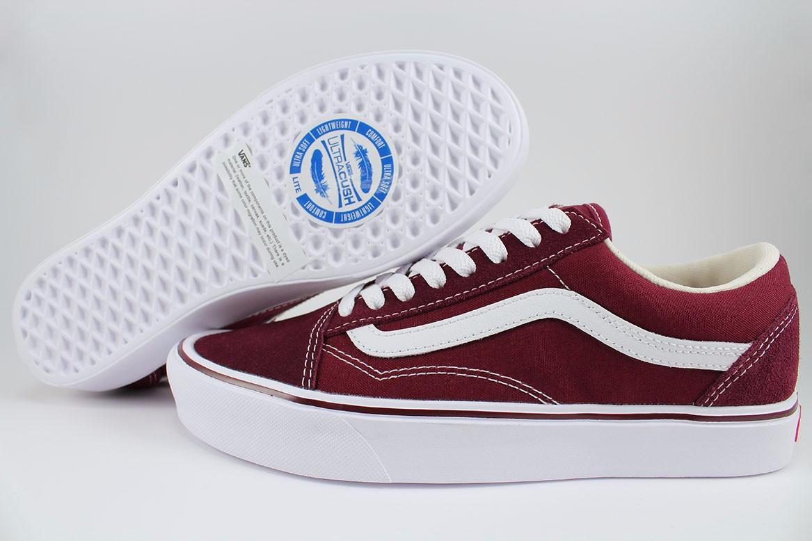 1422d29f7a VANS OLD SKOOL LITE PORT ROYALE BURGUNDY RED WHITE LIGHTWEIGHT SKATE ...