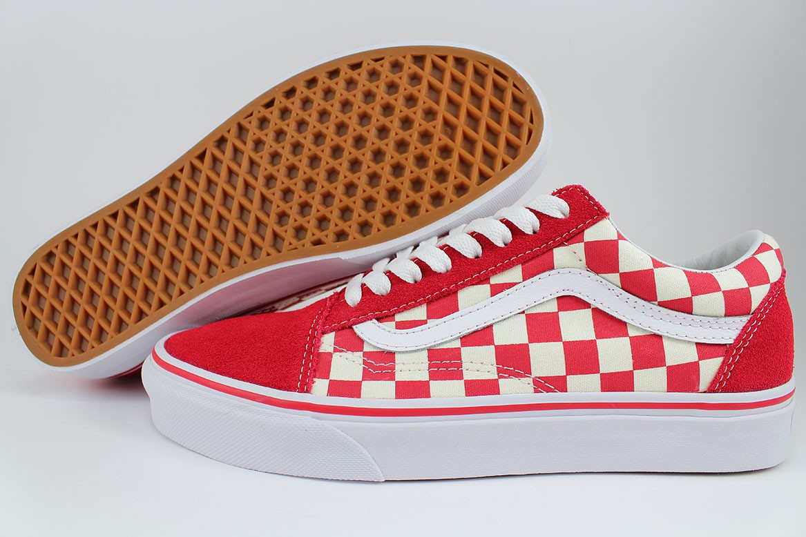 VANS OLD SKOOL PRIMARY CHECKERBOARD RACING RED OFF WHITE CHECK SKATE ... cd8d80913