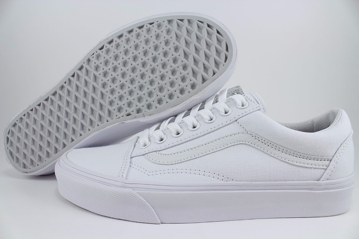 Vans Old Skool Triple True White Mono Low Canvas Classic