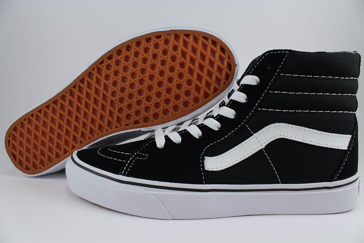 1194f3f4fc Details about VANS SK8-HI HIGH BLACK WHITE CLASSIC SKATE CANVAS SUEDE  VN-0D5IB8C US MENS SIZES