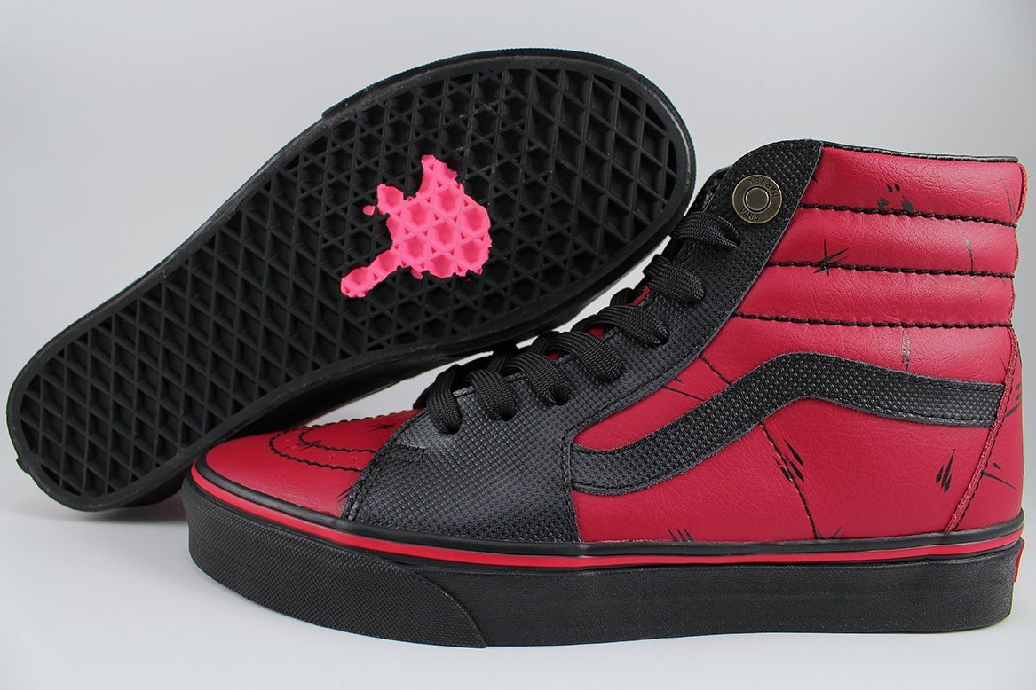 bb629035a6f VANS SK8-HI MARVEL DEADPOOL BLACK RED SKATE HIGH CLASSIC LEATHER US .