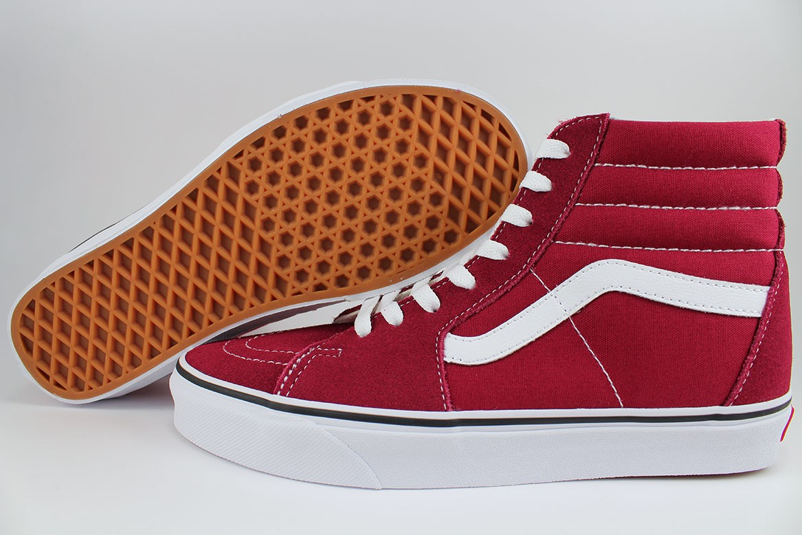f8adff51c492d4 VANS SK8-HI RUMBA RED WHITE BURGUNDY MAROON SUEDE CANVAS SKATE HIGH ...