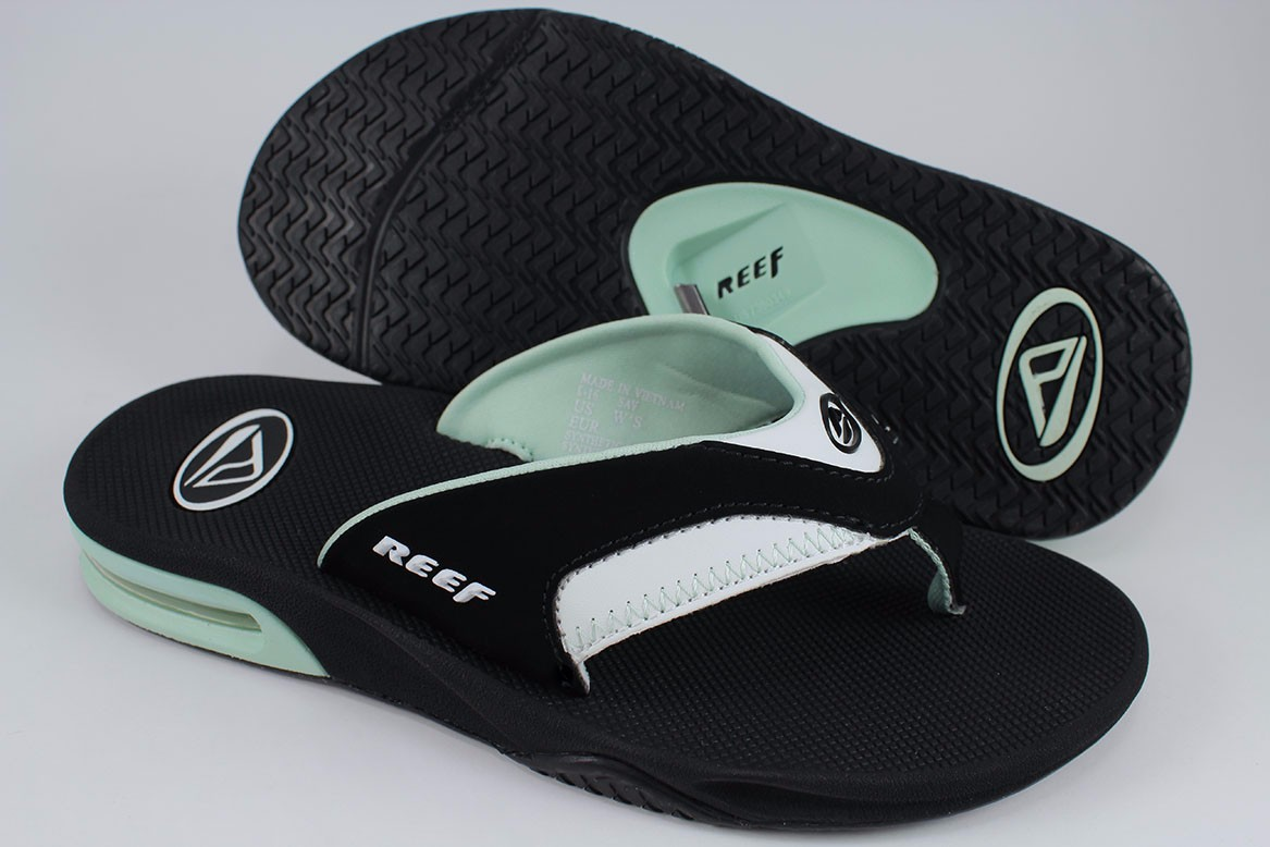 f464b7f11616 REEF FANNING BLACK MINT GREEN WHITE SEAFOAM FLIP FLOPS THONG SANDALS ...